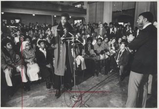 Harold B. Jackson Jr. (extreme right), president of the Milwaukee School Board, listened Friday as a Washington High School student commented on security measures proposed for the school. They were in the school auditorium. Saturday January 29, 1972.