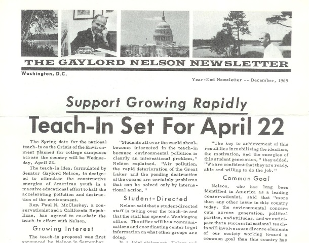 The Gaylord Nelson Newletter - Announcing the first Earth Day